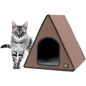 Une belle niche pour chat en forme de tente marron